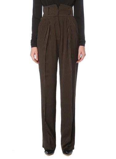 NetWork Kadın 1076431 Regular Fit Yüksek Bel Çizgili Pantolon Kahve